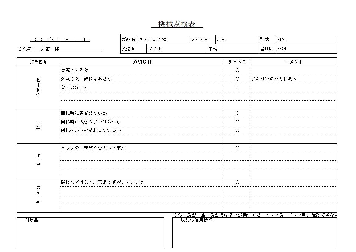 タッピング盤 吉良 KTV-2中古